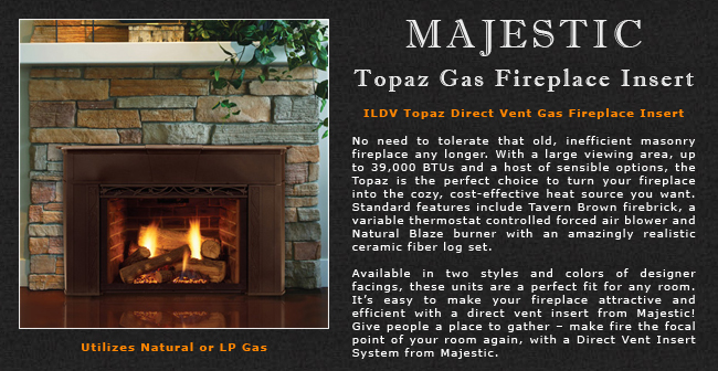 majestic topaz direct vent gas fireplace insert adams stove company rh adamsstove com topaz stone fireplace topaz gas fireplace